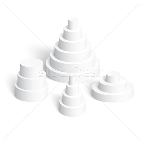 Zestaw biały piramidy doskonały 3D szablon Zdjęcia stock © Mediaseller