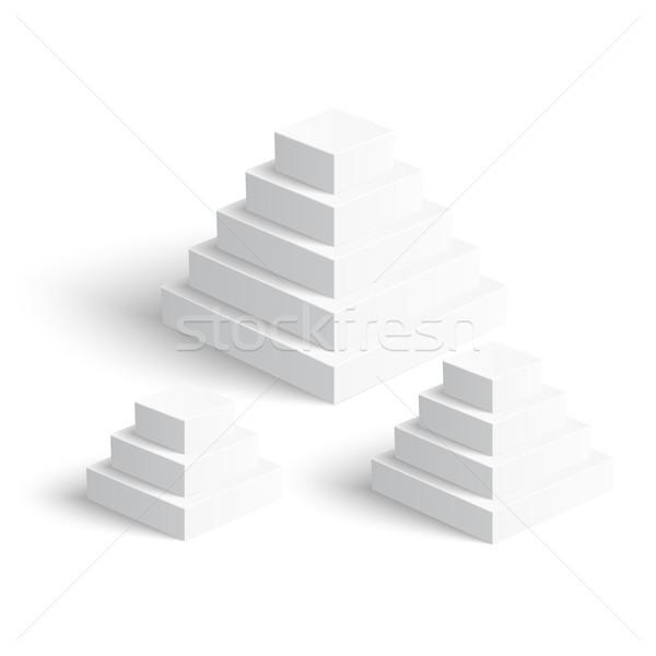 Set of white square pyramids on white background Stock photo © Mediaseller