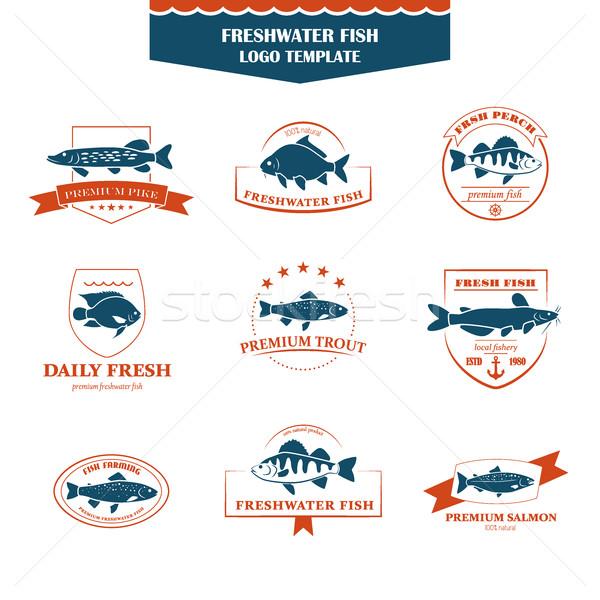 Doskonały zestaw ryb logos słodkowodnych odznaki Zdjęcia stock © Mediaseller