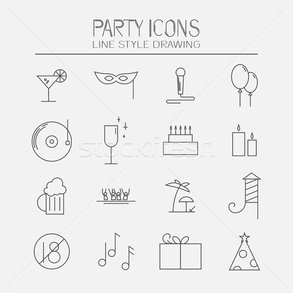 Partiler modern ayarlamak parti simgeler Stok fotoğraf © Mediaseller