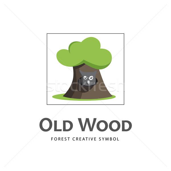 Cartoon starych drzewo ikona Sowa wektora Zdjęcia stock © Mediaseller