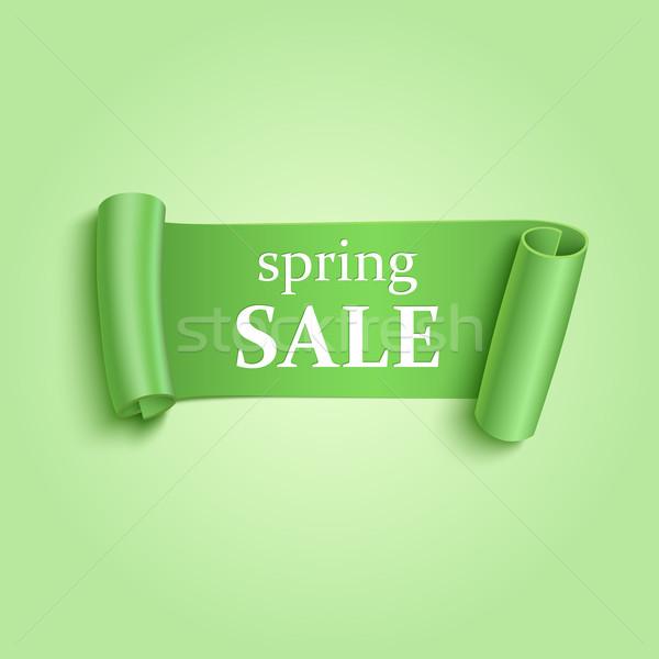 зеленый реалистичный баннер подробный бумаги продажи Сток-фото © Mediaseller