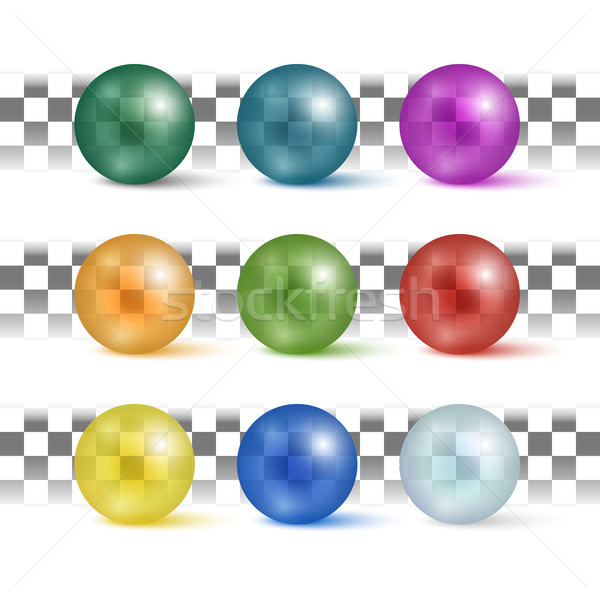 Foto stock: Coleção · colorido · esferas · belo · conjunto