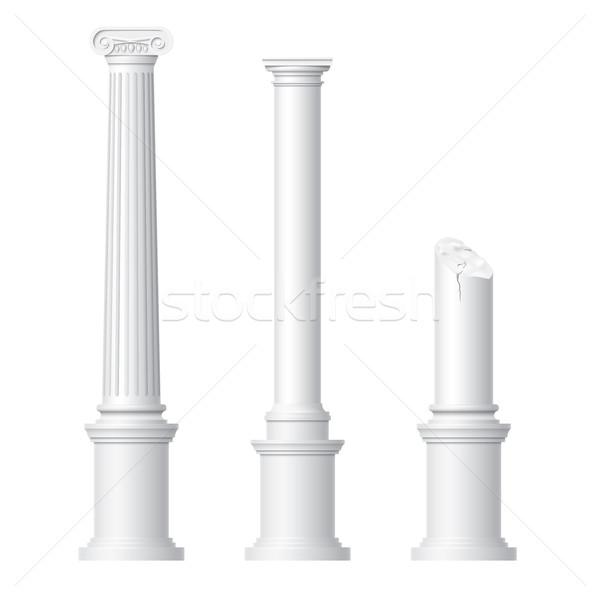 Realistyczny antyczne kolumny odizolowany biały projektu Zdjęcia stock © Mediaseller
