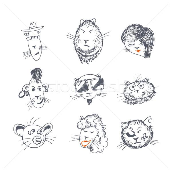 рисованной кошки иконки Cute знак Сток-фото © Mediaseller
