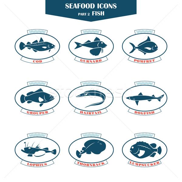 морепродуктов иконки рыбы можете используемый ресторанов Сток-фото © Mediaseller