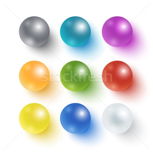 Toplama renkli parlak küreler gerçekçi yalıtılmış Stok fotoğraf © Mediaseller