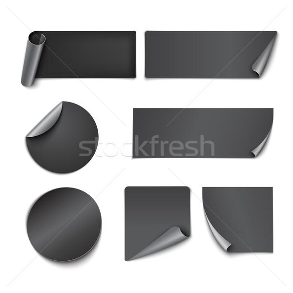 Zestaw czarny papieru naklejki biały tle Zdjęcia stock © Mediaseller