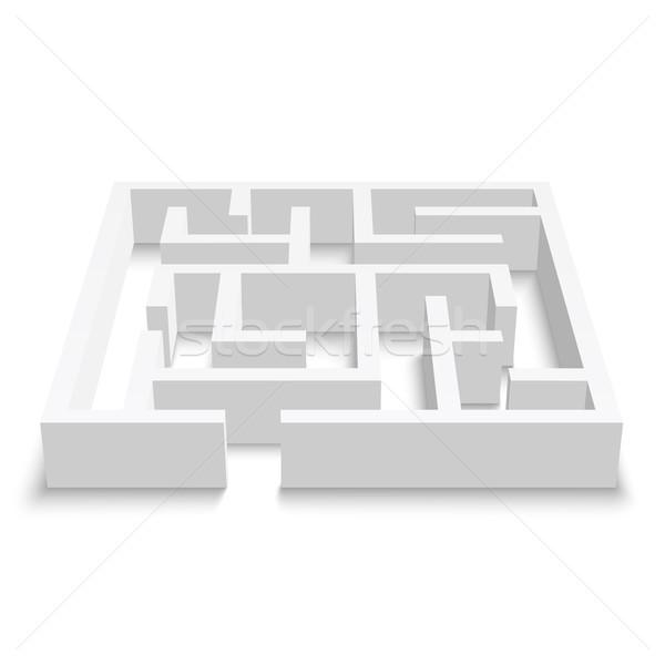 лабиринт головоломки белый 3D вектора прибыль на акцию Сток-фото © Mediaseller