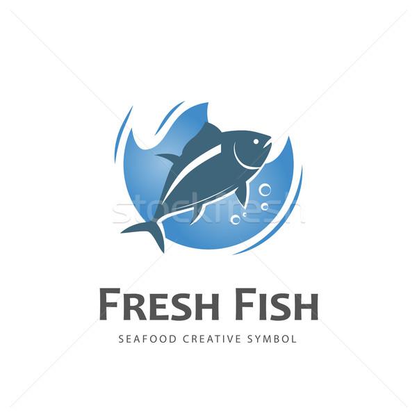 Balık vektör simge taze dizayn logo Stok fotoğraf © Mediaseller