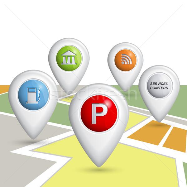 Ayarlamak vektör 3D hizmetleri harita Stok fotoğraf © Mediaseller