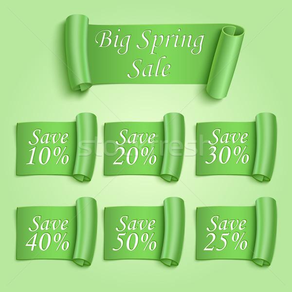 Duży wiosną sprzedaży naklejki zestaw zielone Zdjęcia stock © Mediaseller