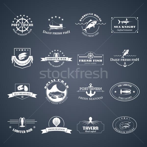 Zestaw owoce morza logos doskonały odznaki Zdjęcia stock © Mediaseller