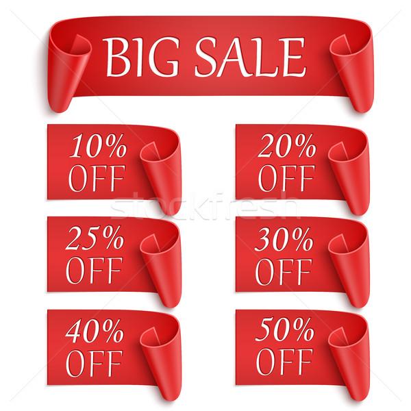 Zestaw realistyczny czerwony papieru naklejki banery Zdjęcia stock © Mediaseller