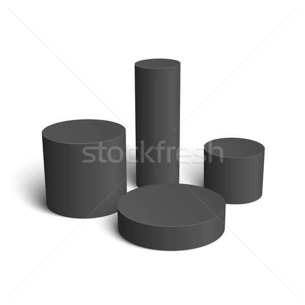 Ingesteld realistisch witte cilinder geïsoleerd zwarte Stockfoto © Mediaseller