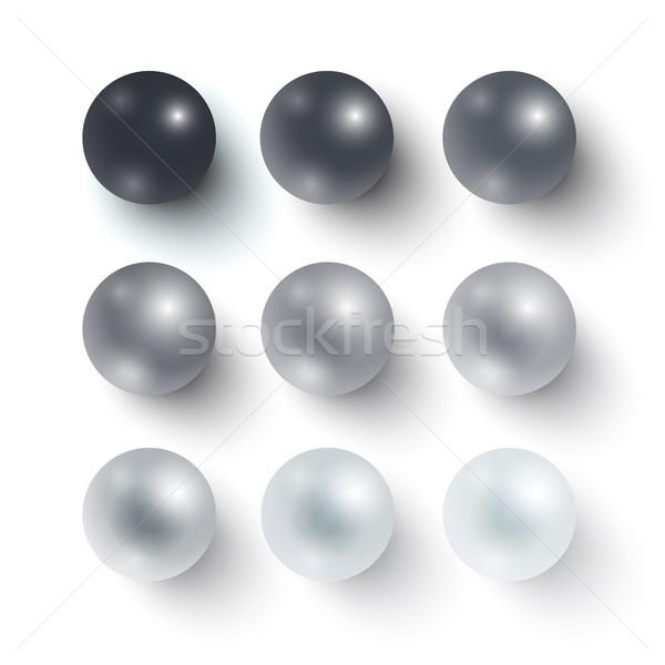 Zestaw realistyczny kule czarny biały projektu Zdjęcia stock © Mediaseller