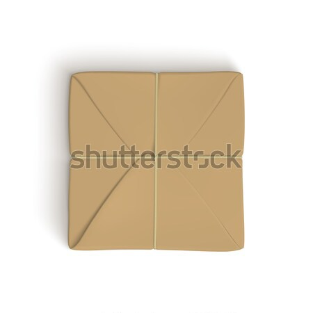 Realistic template of parcel wrapped up with brown paper Stock photo © Mediaseller