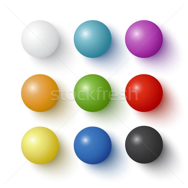 Kolekcja kolorowy kule realistyczny odizolowany Zdjęcia stock © Mediaseller