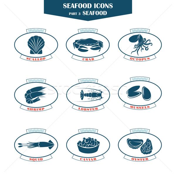 Deniz ürünleri simgeler balık can kullanılmış restoranlar Stok fotoğraf © Mediaseller