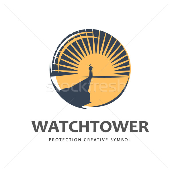 Logo szablon ochrony symbol wieża Świt Zdjęcia stock © Mediaseller