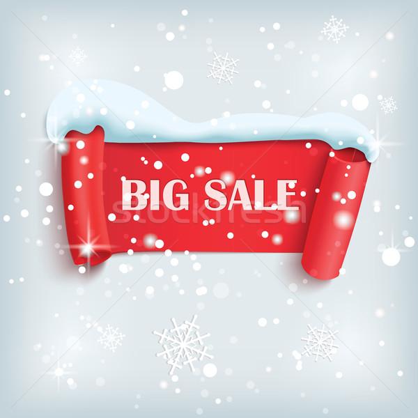Duży zimą sprzedaży plakat czerwony papieru Zdjęcia stock © Mediaseller