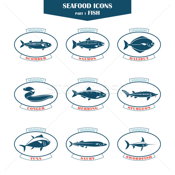 Seafood icons. Fish icons Stock photo © Mediaseller