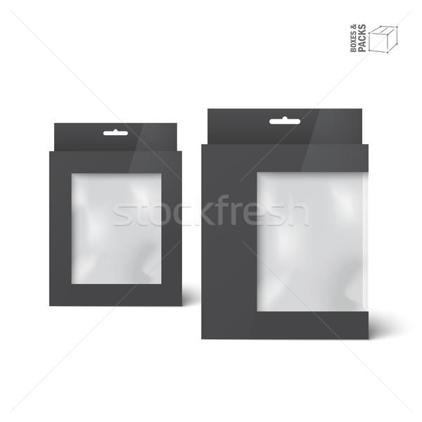 Dwa czarny wektora produktu pakiet pola Zdjęcia stock © Mediaseller
