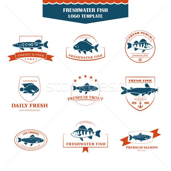 Mükemmel ayarlamak balık logolar tatlısu rozetler Stok fotoğraf © Mediaseller