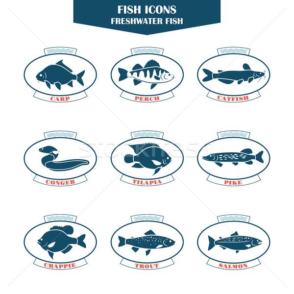 рыбы иконки вектора можете используемый ресторанов Сток-фото © Mediaseller