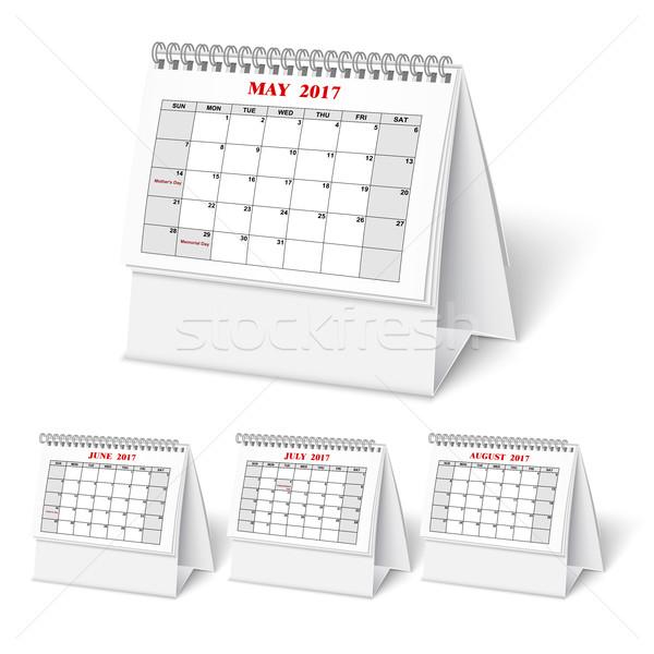 Stockfoto: Realistisch · muur · kalender · voorjaar · desktop · vector