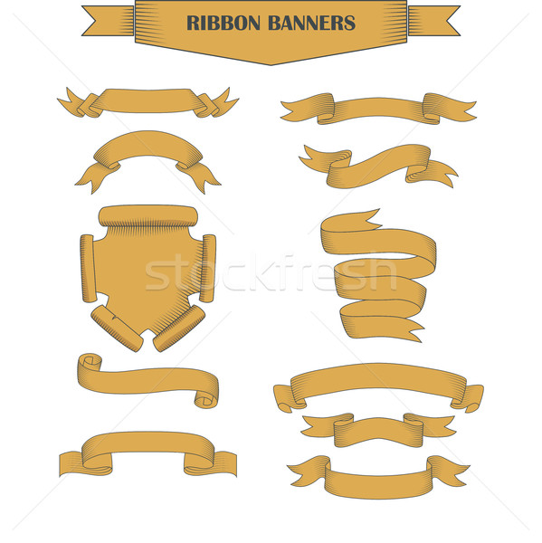 Vintage ribbon banners, hand drawn set Stock photo © Mediaseller