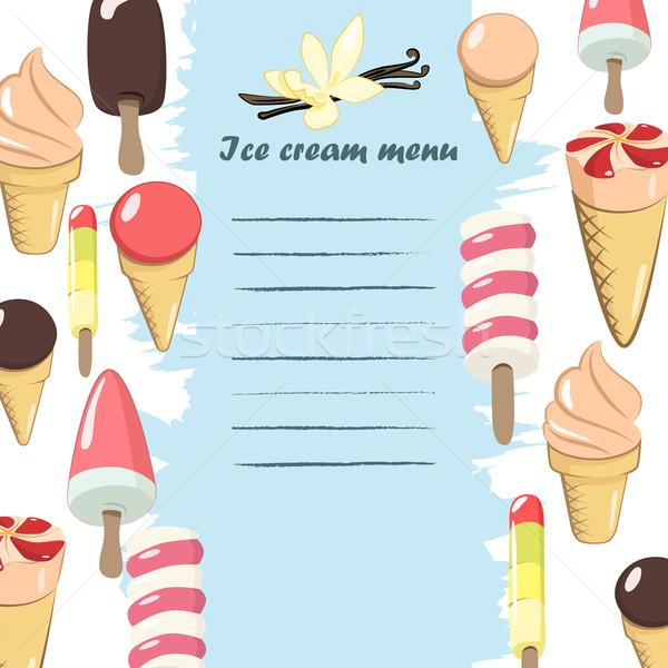 Dondurma menü şablon vektör parti Stok fotoğraf © Mediaseller
