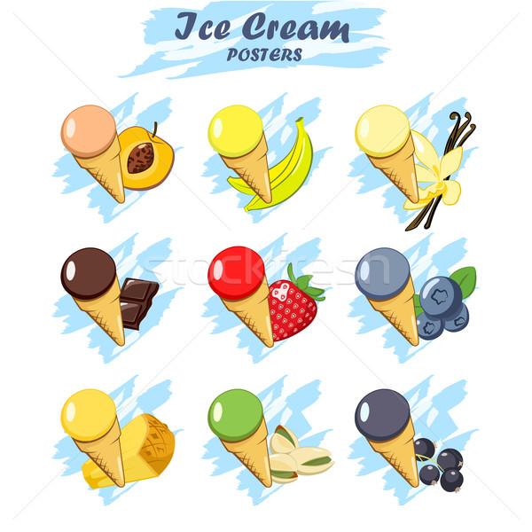 Zestaw cartoon lody ikona inny Zdjęcia stock © Mediaseller