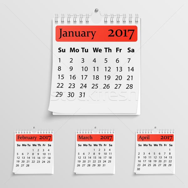 Stockfoto: Realistisch · muur · kalender · voorjaar · papier · textuur