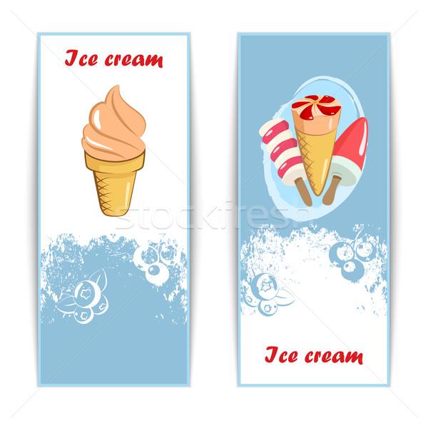 Bağbozumu dondurma posterler afişler ayarlamak tatlı Stok fotoğraf © Mediaseller