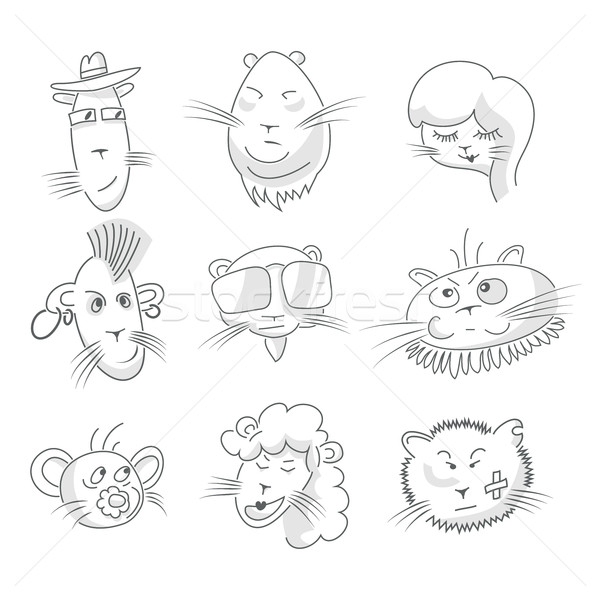 Cute chat dessin ligne style Photo stock © Mediaseller