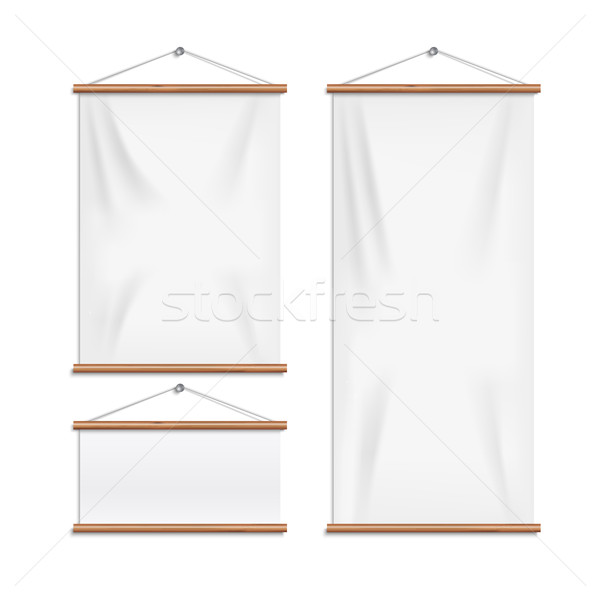 Realistic white textile banners with folds Stock photo © Mediaseller