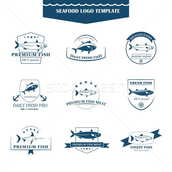Owoce morza logos szablon doskonały zestaw odznaki Zdjęcia stock © Mediaseller