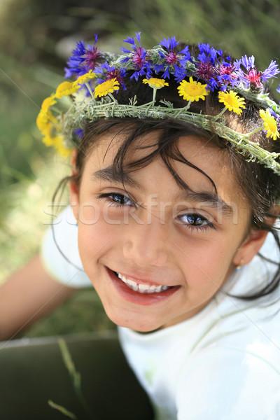 Daisy gras natuur meisjes kid Stockfoto © mehmetcan