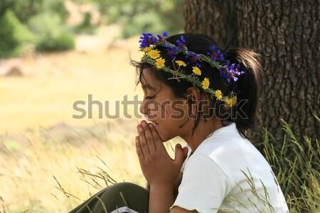 Meisje daisy gras natuur meisjes Stockfoto © mehmetcan