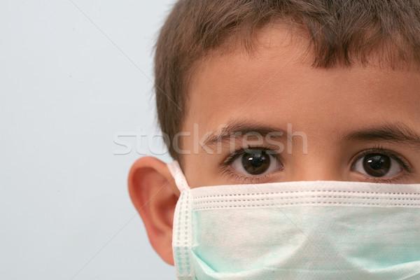 Weinig jongens masker medische kind triest Stockfoto © mehmetcan