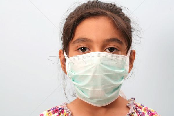 Meisje masker meisje arts werk medische Stockfoto © mehmetcan