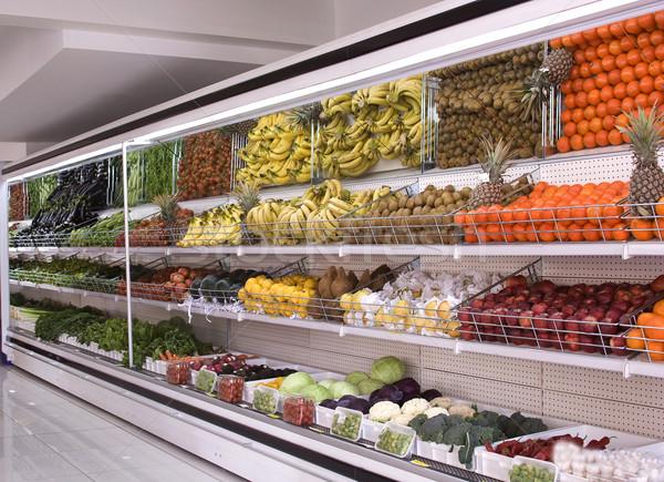 Buzdolabı süpermarket çiçek gıda turuncu et Stok fotoğraf © mehmetcan