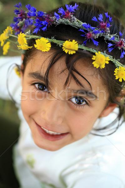 Daisy voorjaar gras meisjes leuk Stockfoto © mehmetcan