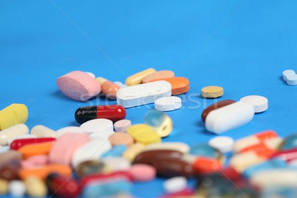 Medische oranje geneeskunde Blauw helpen Stockfoto © mehmetcan