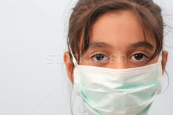 Meisje masker meisje arts werk Stockfoto © mehmetcan