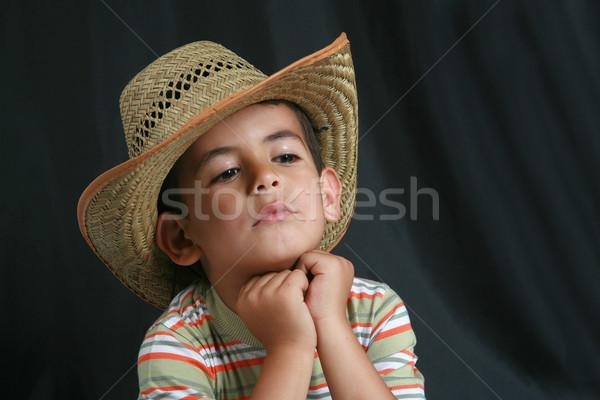 Weinig jongens licht portret cowboy land Stockfoto © mehmetcan