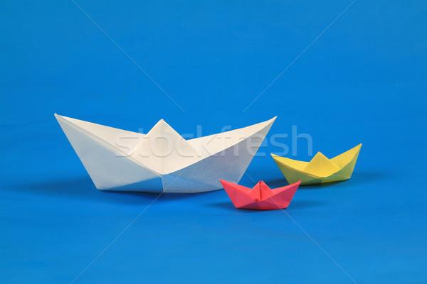 Papier boot water Blauw witte surfen Stockfoto © mehmetcan