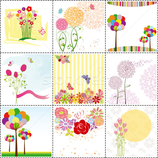 set of colorful flower greeting card Stock photo © meikis