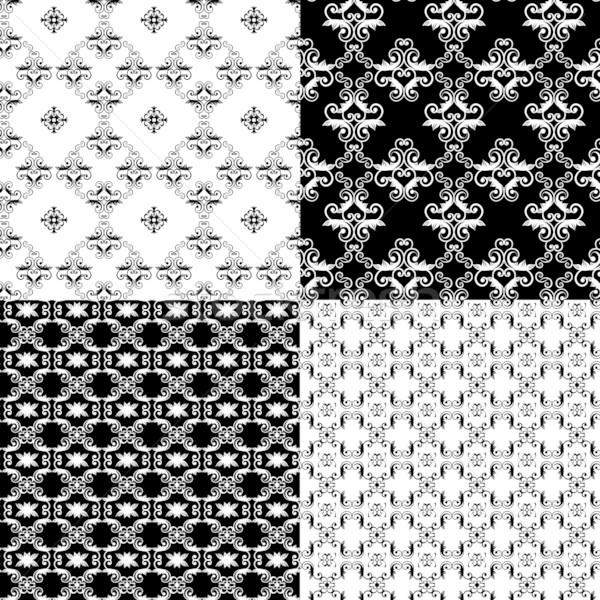 セット ダマスク織 シームレス フローラル パターン 壁 ストックフォト © meikis
